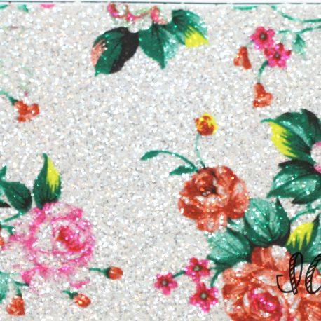 Silver Floral Glitter Embroidery Vinyl Sewing Vinyl Craft Vinyl