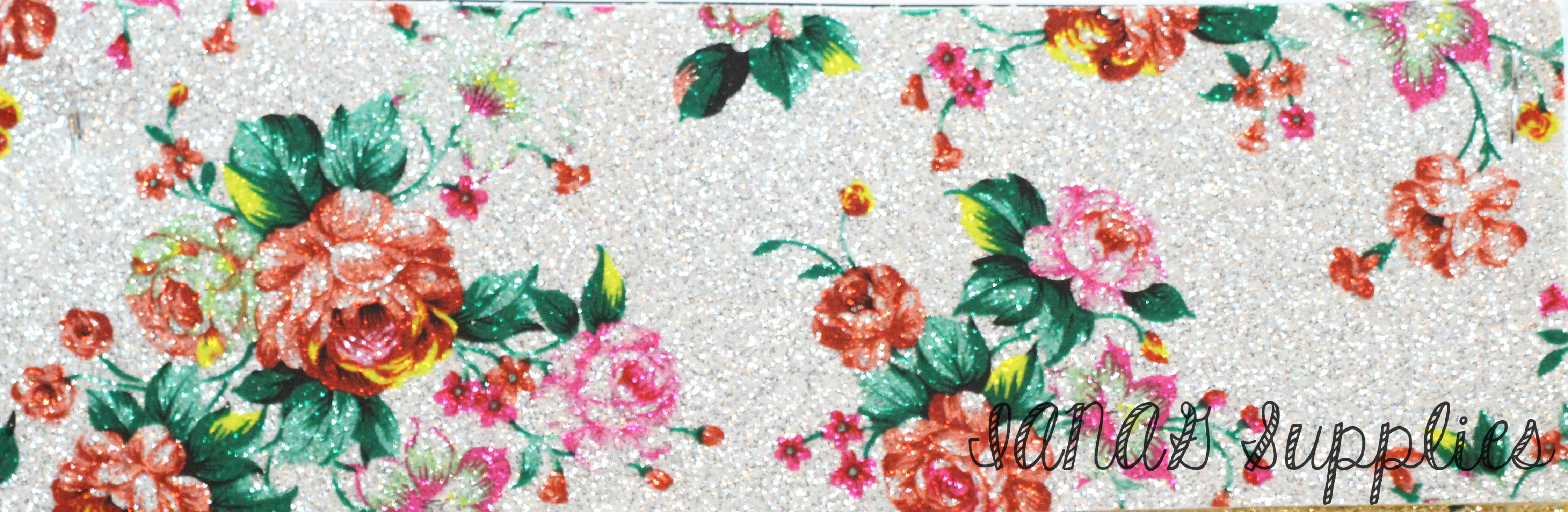 Silver floral glitter embroidery vinyl sewing