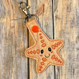 Baby Starfish, Key fob, Snap tab, Eyelet Fob, Embroidery Design, Digital File