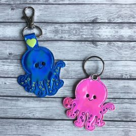 Baby Octopus Key fob, Snap tab, Eyelet Fob, Embroidery Design, Digital File