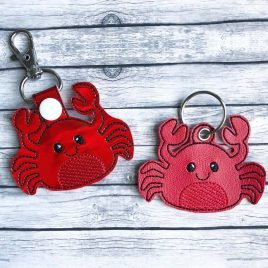 Baby Crab Key fob, Snap tab, Eyelet Fob, Embroidery Design, Digital File