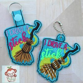I Drive A Stick, Key fob, Snap tab, Eyelet Fob, Embroidery Design, Digital File