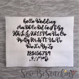 hello Wedding Font,5 sizes, 1.5 inch, 1.25 inch, 1 inch, 0.75 inch, 0.5 inch, Embroidery Design, Digital File
