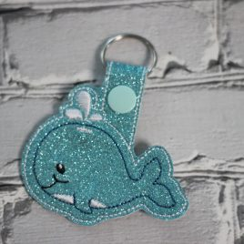 Baby Whale Key fob, Snap tab, Eyelet Fob, Embroidery Design, Digital File