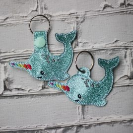 Rainbow Narwhal Key fob, Snap tab, Eyelet Fob, Embroidery Design, Digital File