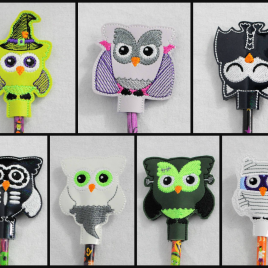Halloween Owls, Pencil Toppers, SET, Embroidery Design, Digital File
