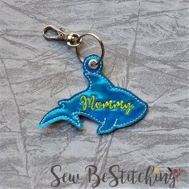 Mommy Shark Silhouette, Key fob, Snap tab, Eyelet Fob, Embroidery Design, Digital File