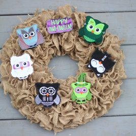 WREATH SET, Oversized felties, Halloween Owls, SET, Embroidery Design, Digital File