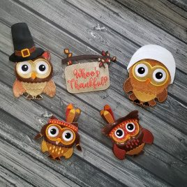 WREATH SET, Oversized felties, Thanksgiving Owls, SET, Embroidery Design, Digital File