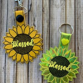Blessed Sunflower, Key fob, Snap Tab Fob, Embroidery Design, Digital File