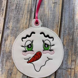 Silly Snowman Face Ornament, Embroidery Design, Digital File