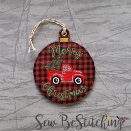 Merry Christmas Truck Ornament, Embroidery Design, Digital File