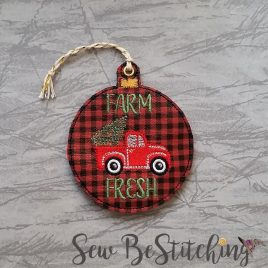 Farm Fresh Truck Ornament, Embroidery Design, Digital File