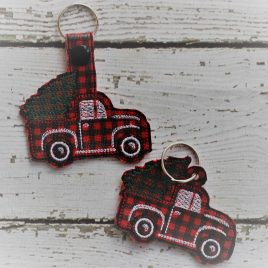Little Red Truck with tree, Key fob, Snap Tab Fob, Embroidery Design, Digital File