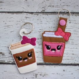Kawaii To-Go Cup, Key fob, Snap Tab Fob, Embroidery Design, Digital File