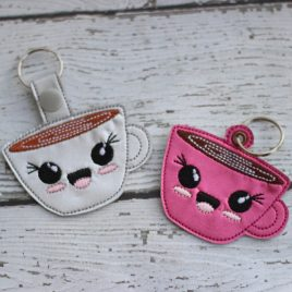 Kawaii Mug, Key fob, Snap Tab Fob, Embroidery Design, Digital File