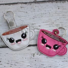 Kawaii Mug, Key fob, Snap Tab Fob, Embroidery Design, Digital File