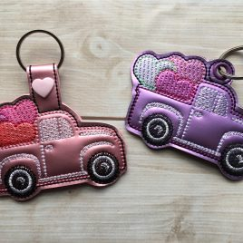 Lil Truck with Hearts, Key fob, Snap Tab Fob, Embroidery Design, Digital File
