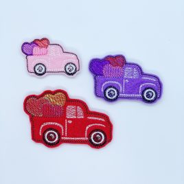 Lil Truck with Hearts, Felties, 3 Sizes, Embroidery Design, Digital File