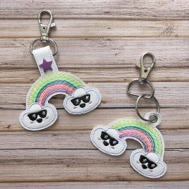 Rockin' Rainbow, Key fob, Snap Tab Fob, Embroidery Design, Digital File