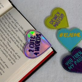 Conversation Heart Bookmarks, 4 Sayings, Embroidery Design, Digital File