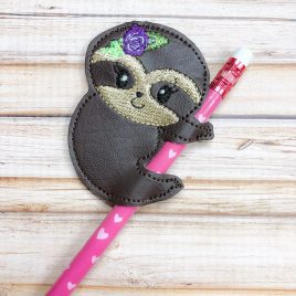 Sloth Girl Pencil Slider, Straw Slider, Embroidery Design, Digital File