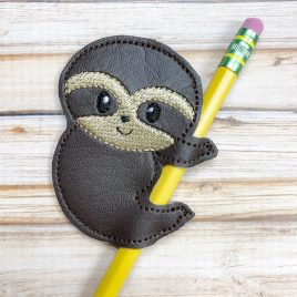 Sloth Boy Pencil Slider, Straw Slider, Embroidery Design, Digital File