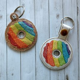 Rainbow Donut Key Fob Set, Snap Tab fob, Eyelet Tab Fob, Embroidery Design, Digital File