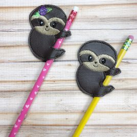 BOTH Boy and Girl Sloth Pencil Slider, Set, Straw Slider, Embroidery Design, Digital File