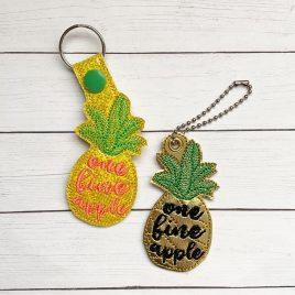 One Fine Apple, Pineapple Key Fob Set, Snap Tab fob, Eyelet Tab Fob, Embroidery Design, Digital File