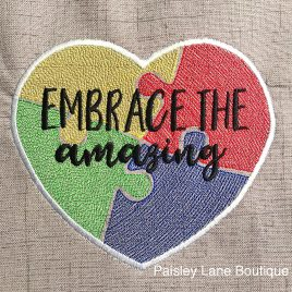 Embrace The Amazing, Autism Awareness, Satin Stitches, Embroidery Design, Digital File