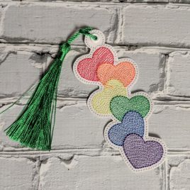 Pride Stacked Heart Bookmark, Embroidery Design, Digital File