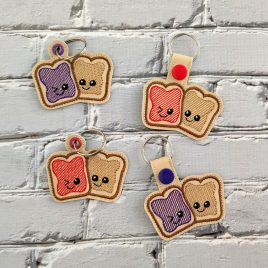 Kawaii PB&J Key Fob Set, Snap Tab fob, Eyelet Tab Fob, Embroidery Design, Digital File