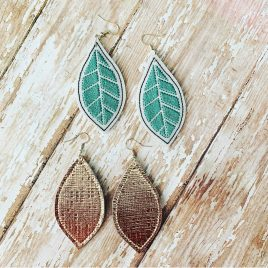 Leaf Earrings – Plain and Detailed Included – One Size, Embroidery Design, Digital File