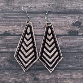 Single Satin Chevron Earrings – One Size, Embroidery Design, Digital File