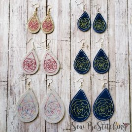 Rose Motif Earrings – 3 Sizes, 2 Styles, Embroidery Design, Digital File