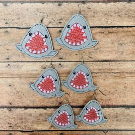 Shark Bite Earrings – 3 Sizes, Embroidery Design, Digital File