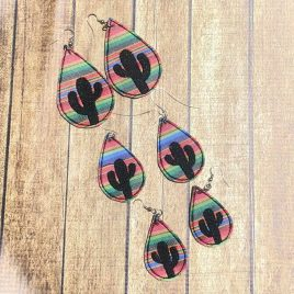 Teardrop Cactus Earrings – 3 Sizes, Embroidery Design, Digital File