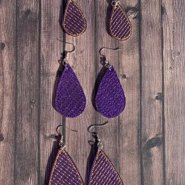 Diagonal Stripe Teardrop Earrings – 3 Sizes, Embroidery Design, Digital File