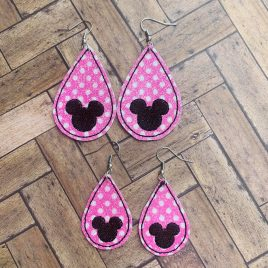 Teardrop Mouse Silhouette Earrings – 2 Sizes, Embroidery Design, Digital File