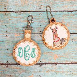 Scallop Applique Fob Set, Snap Tab fob, Eyelet Tab Fob, Embroidery Design, Digital File