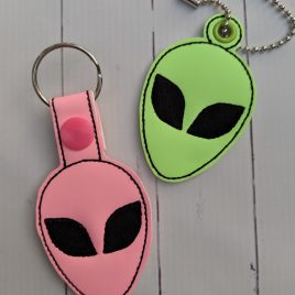 Alien Head Key Fob Set, Snap Tab fob, Eyelet Tab Fob, Embroidery Design, Digital File