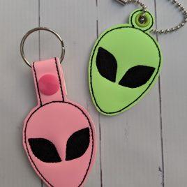 Alien Head Key Fob Set, Snap Tab fob, Eyelet Tab Fob, Embroidery Design, Digital File