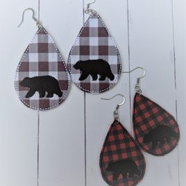 Grizzly Bear Teardrop Earrings – Felties – 2 Sizes, Embroidery Design, Digital File