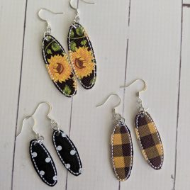 Skinny Oval Earrings – Felties – 3 Sizes, Embroidery Design, Digital File