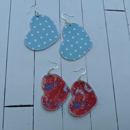 Heart Earrings – Felties – 2 Sizes, Embroidery Design, Digital File
