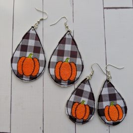 Pumpkin Teardrop Earrings – 2 Sizes, Embroidery Design, Digital File