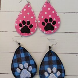 Paw Print Teardrop Earrings – 2 Sizes, Embroidery Design, Digital File