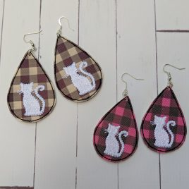 Cat Silhouette Teardrop Earrings – 2 Sizes, Embroidery Design, Digital File