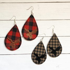 Moose Head Teardrop Earrings – 2 Sizes, Embroidery Design, Digital File